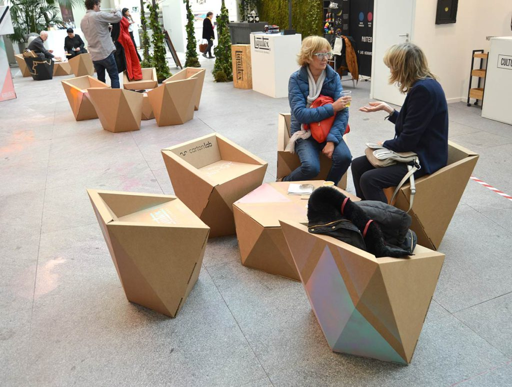 zona lounge art madrid muebles cartón