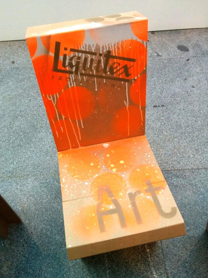 Muebles de cartón para eventos, silla personalizada Liquitex