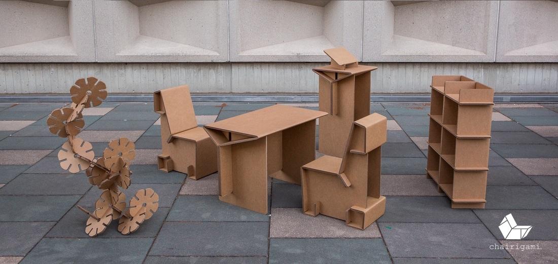 diseño con cartón en usa chairigami cardboard design made in usa