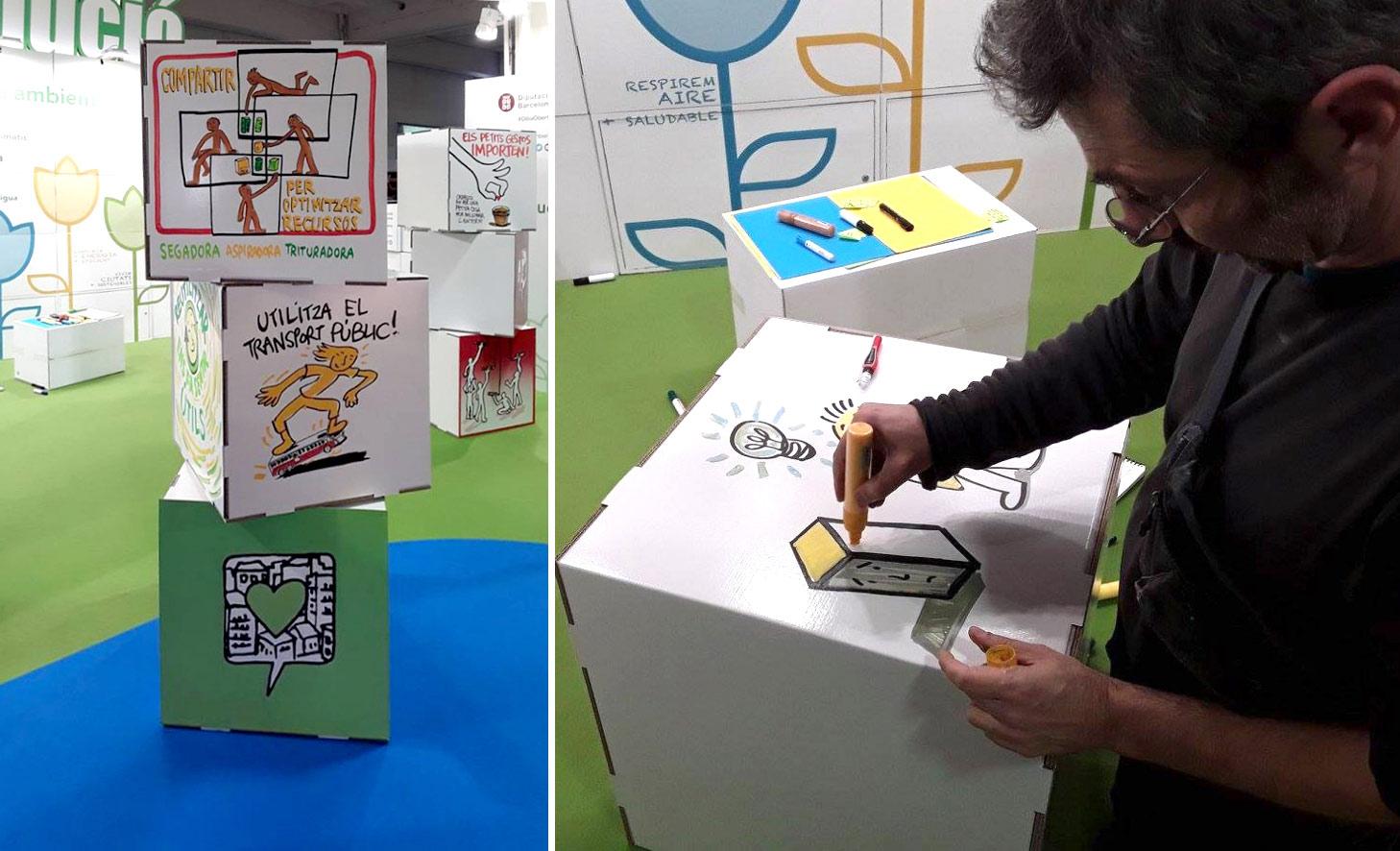 cubos carton personalizado eventos stand