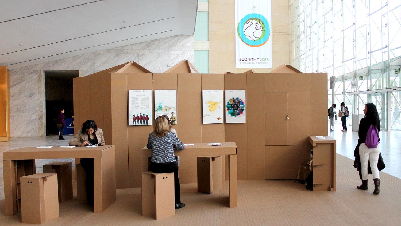 pabellón de cartón stand ecológico en conama
