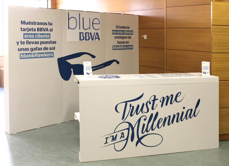 blue bbva challenge 2016 ciudades futuro evento mostrador cartonlab