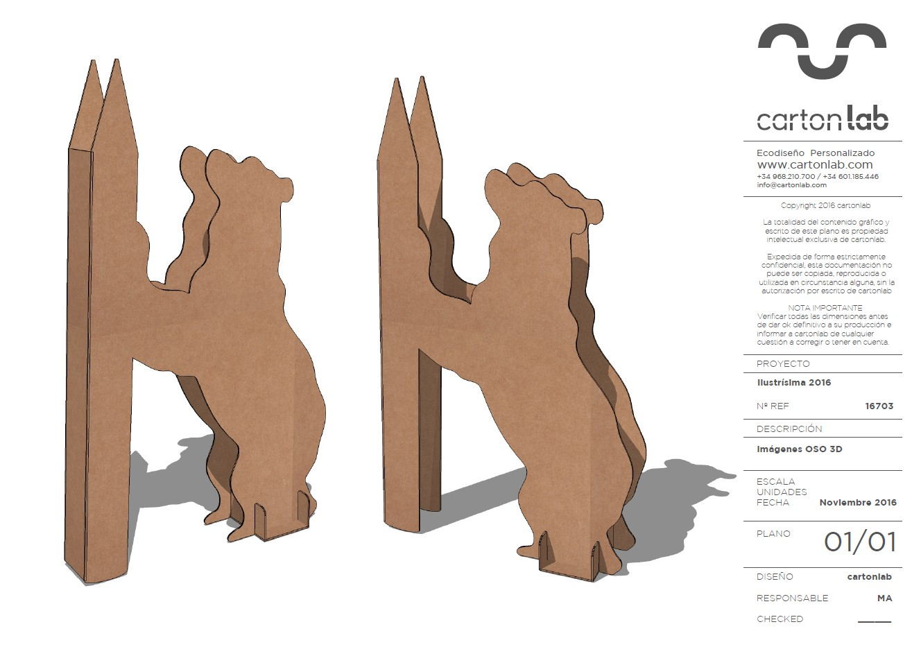 plano 3d totem forma oso
