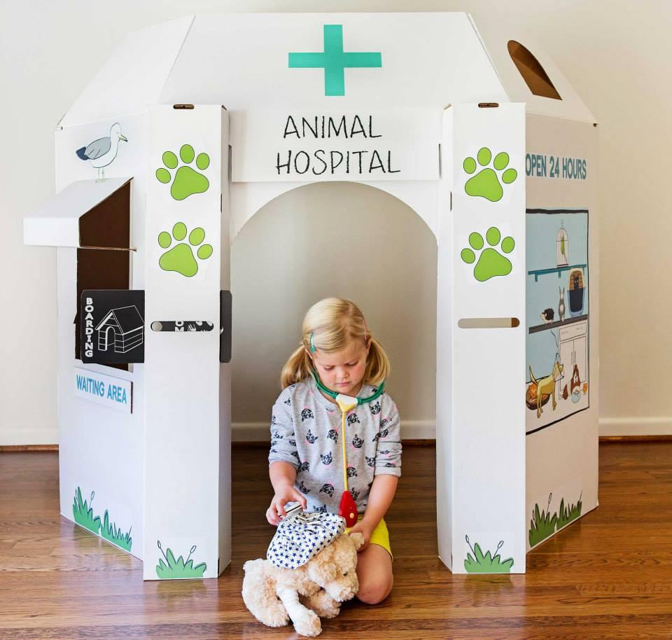 hospital animal little play space casitas de cartón