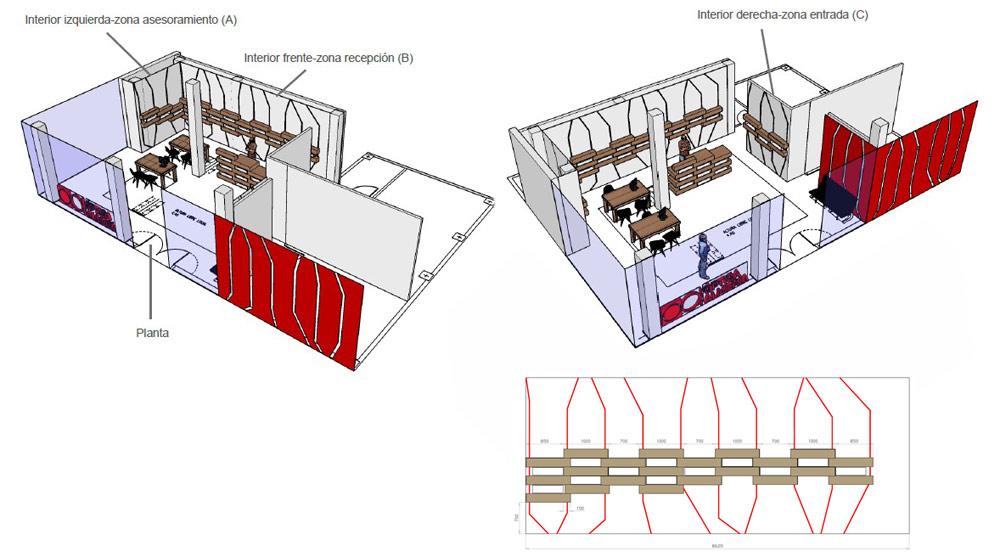 expositores para gafas carton plano proyecto cartonlab optica almeria el ejido diseno interior optica interiorismo