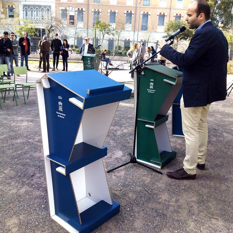 atril plegable conferencias congresos inauguracion portatil desmontable carton