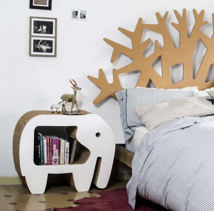 mesita noche elefante cartón dormitorio cabecero arbol