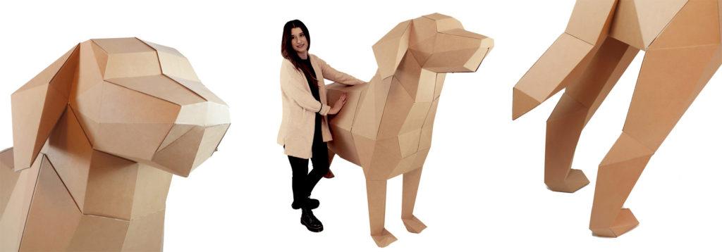 Perro gigante con un tipo de cartón microcanal