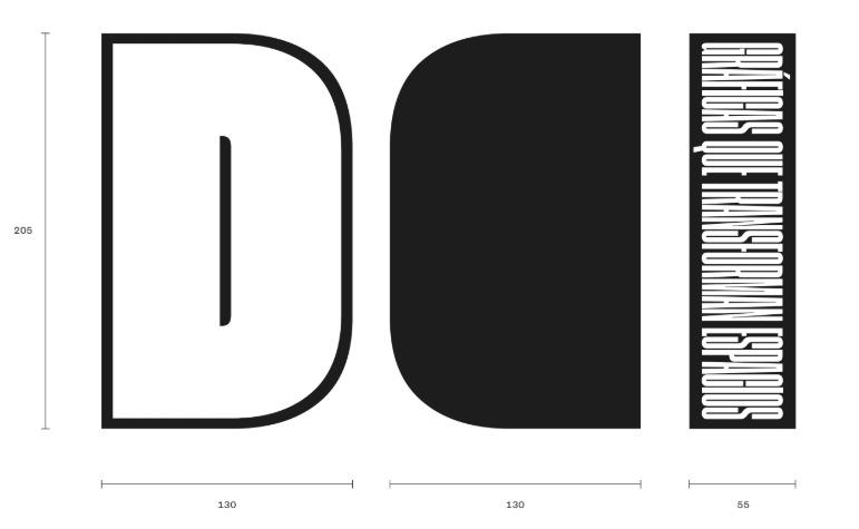 Diseño de letra corpórea con dimensiones especificadas