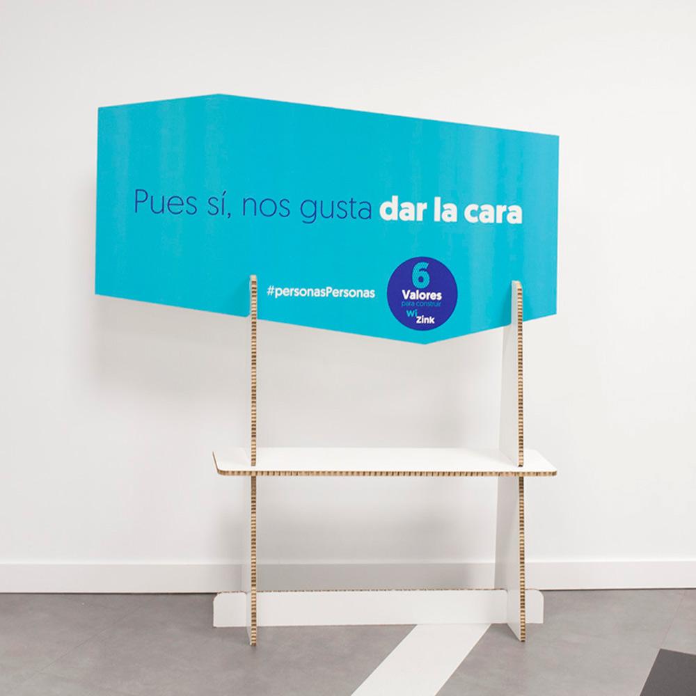 panel cartel carton impreso wizink 01 decoración eventos corporativos