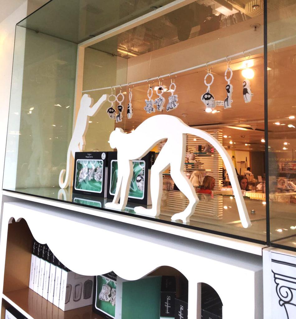 Animals die-stamping at Sleepyhead window dressing in John Lewis produced by Cartonlab.