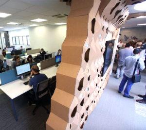 the circular lab ecoembes logroño pared carton separacion ambientes espacios trabajo