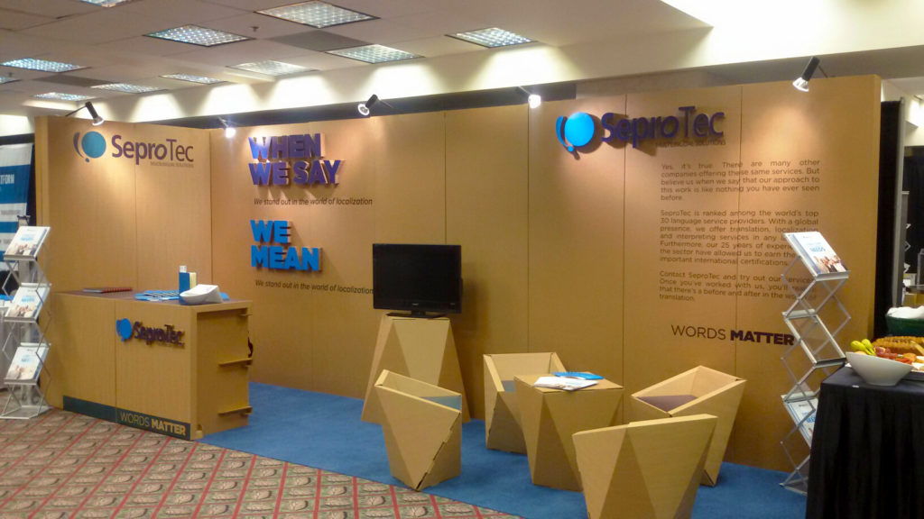 LocWorld 32 Montreal cardboard booth for Seprotec designed by Cartonlab.