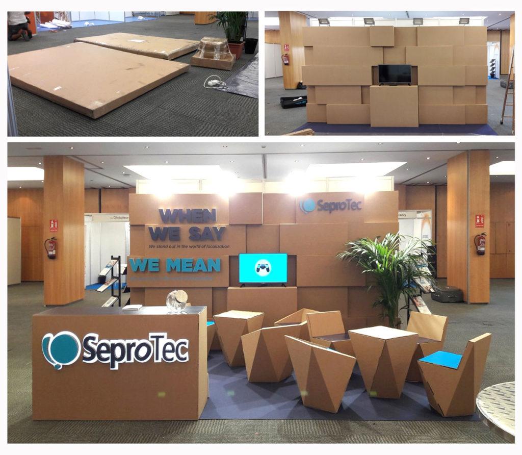 stand locworld Barcelona modular carton SeproTec LocWorld 34 congreso traducción y localización fácil montaje diseñado por Cartonlab