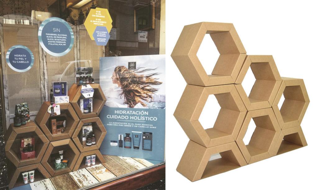 diseño decoracion escaparate escaparatismo expositor hexagonos panel hexagonal abejas productos cosmetica ecologica apivita diseñado por Cartonlab