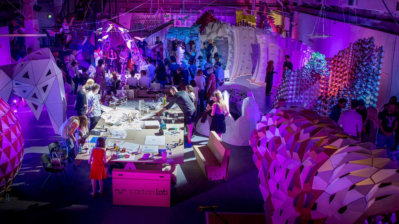 pabellones de carton fabfest festival fabricacion digital