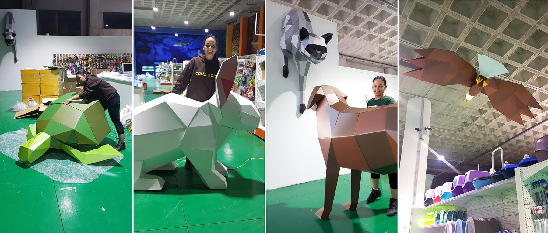 animales de carton lowpoly tienda mascotas
