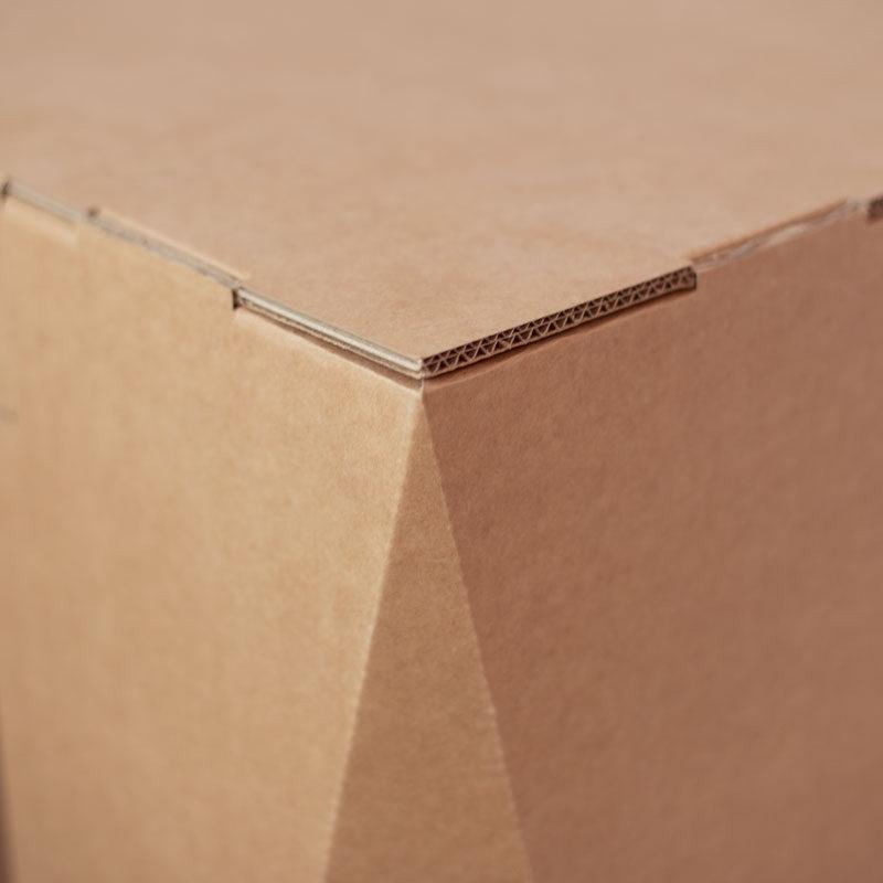 detalle mostrador de carton ecologico eventos