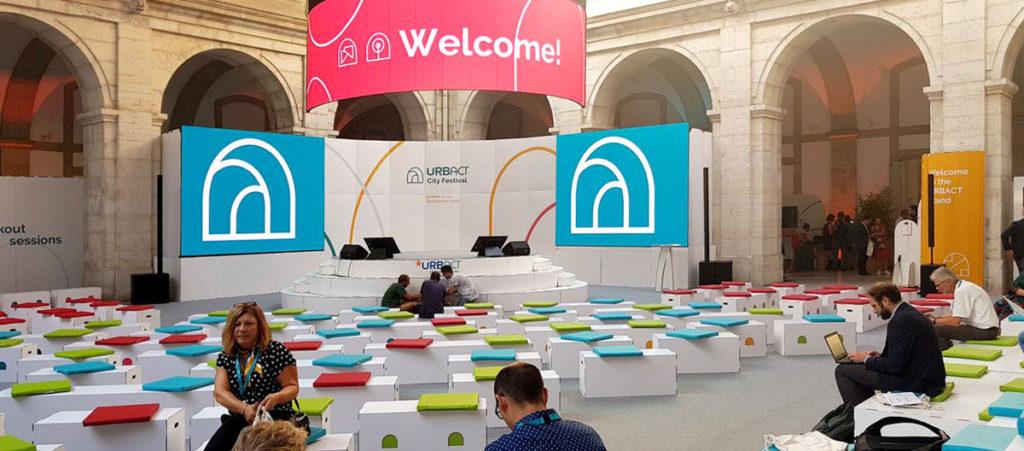 Muebles de cartón para eventos, URBACT Lisboa