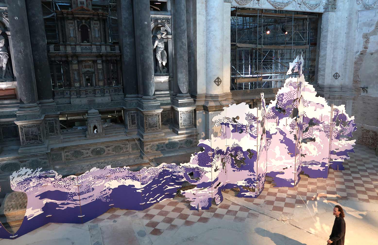 biombo separador de carton gigante evento venecia