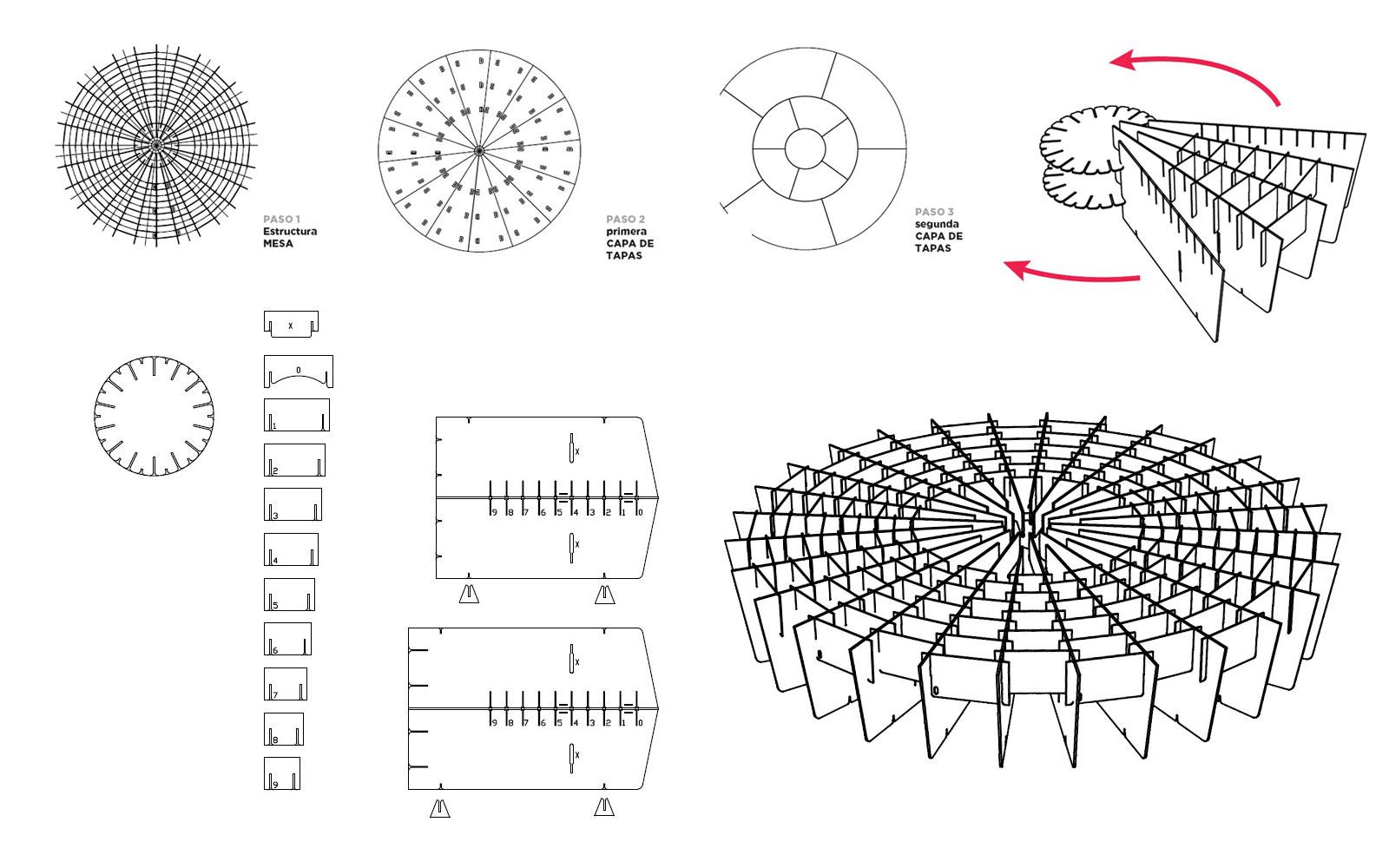 planos montaje mesa carton escenario