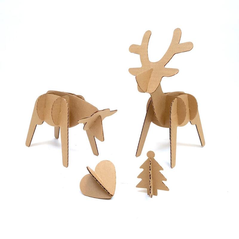 reno de navidad de cartón