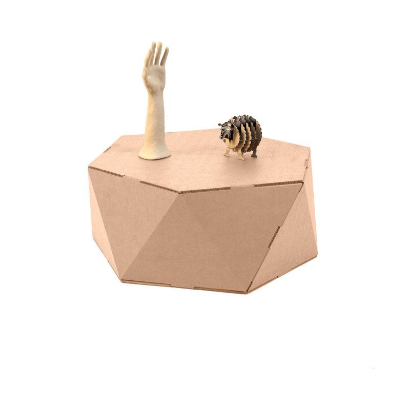 mesa hexagonal carton objetos