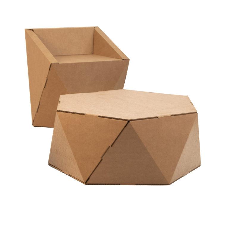 Mesa hexagonal baja de cartón para eventos