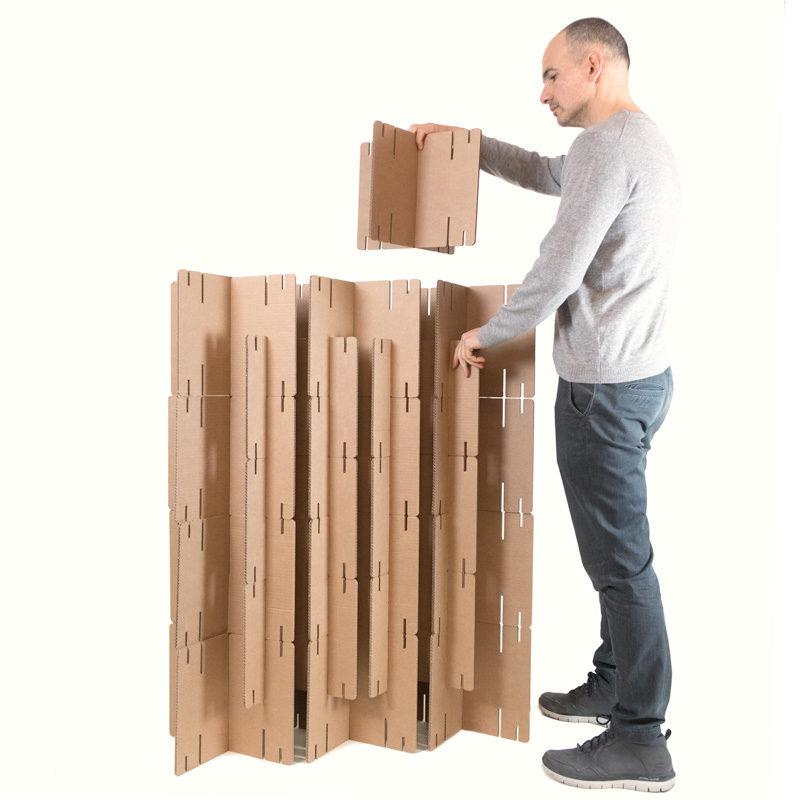 montaje biombo cartón piezas