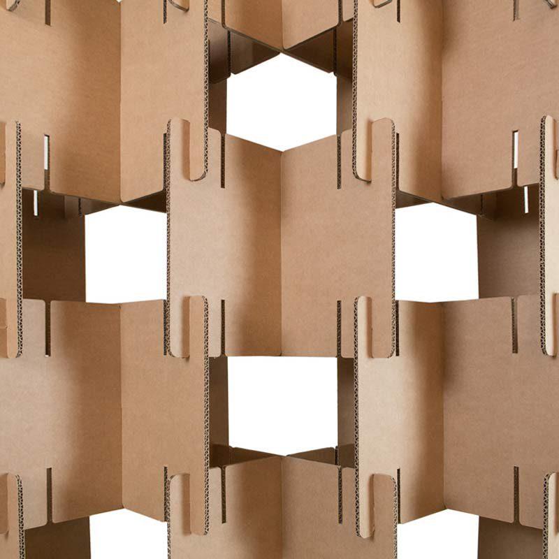 detalle biombo piezas carton