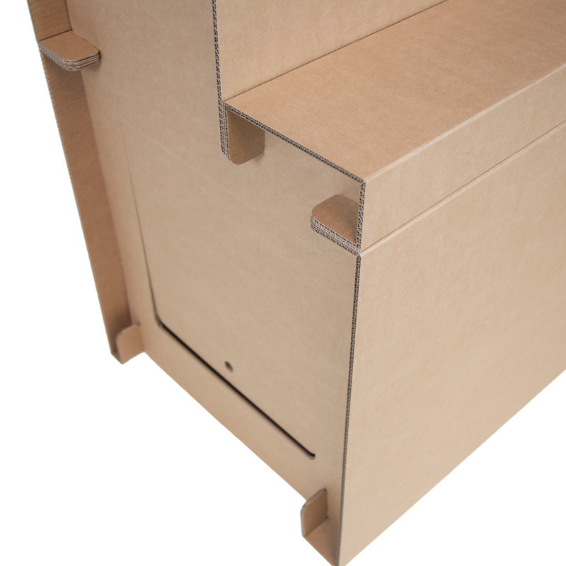 detalle expositor escalonado carton