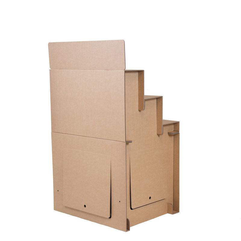 expositor escalonado de cartón vista trasera
