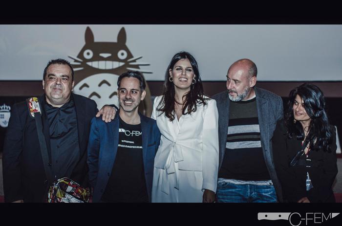 Organizadores del festival con Jaume Balagueró y Totoro