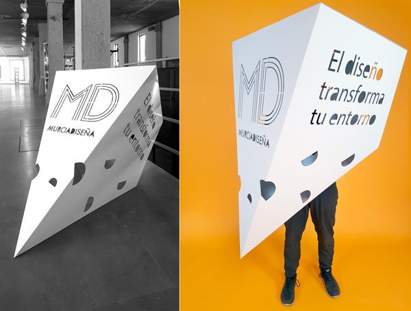 Montaje de corpóreo Murcia Diseña en dos espacios diferentes