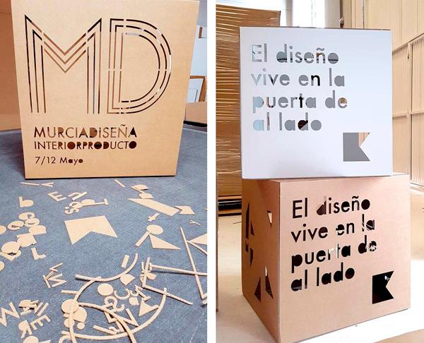 Montaje de cubos para Murcia Diseña en nuestro estudio
