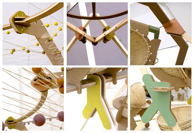 Montaje de uniones estructurales de las lámparas