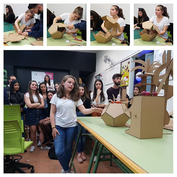 Montaje de proceso creación y presentación del stand por una alumna