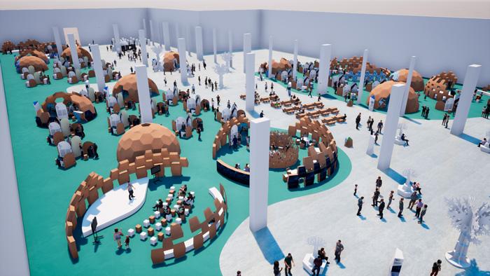 Vista general del diseño para eventos y congresos en 3D
