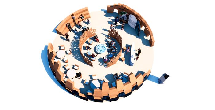 Vista cenital del stand grande del diseño de congresos y eventos
