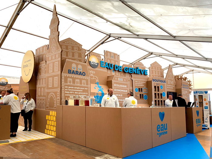 Stand de Eau de Geneve para diseño de exposiciones internacionales