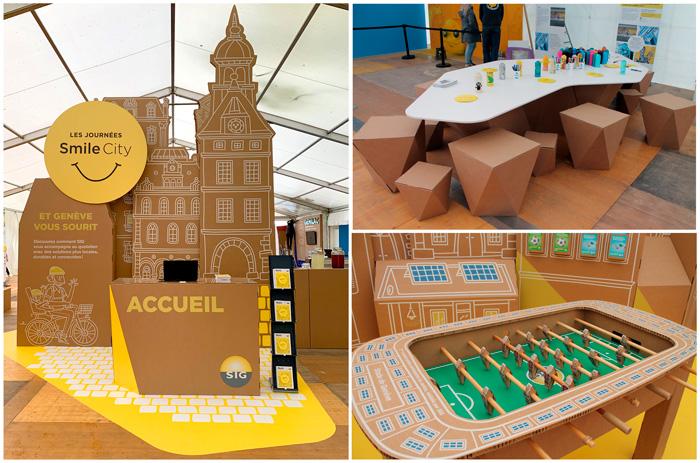 Montaje sobre elementos auxiliares de diseño de exposiciones internacionales