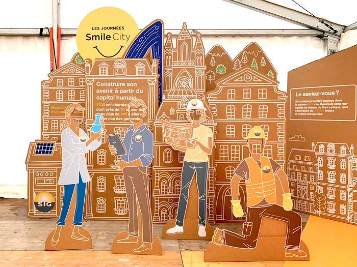 Photocall representando oficios relacionados con los organizadores