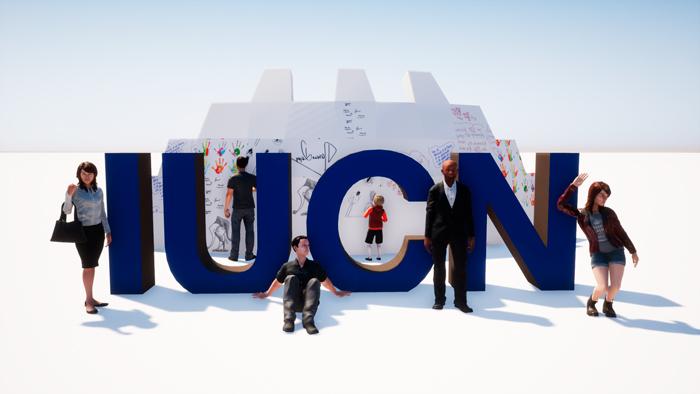 Letras corpóreas de IUCN del diseño de congresos y eventos