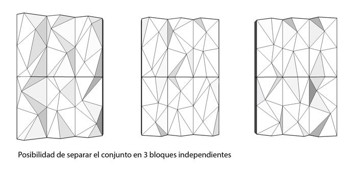 Tres bloques independientes del muro facetado modular