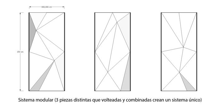 Piezas separadas del muro facetado modular