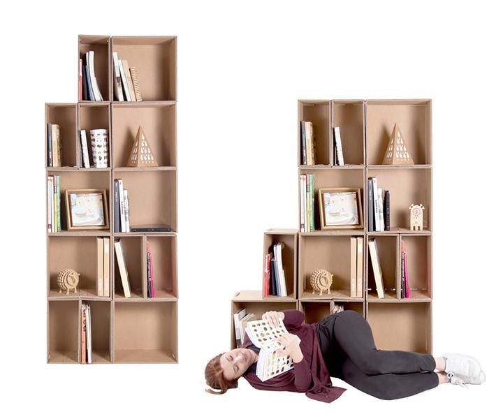Diseño en cartón para librerías, estantería modular Polipodio