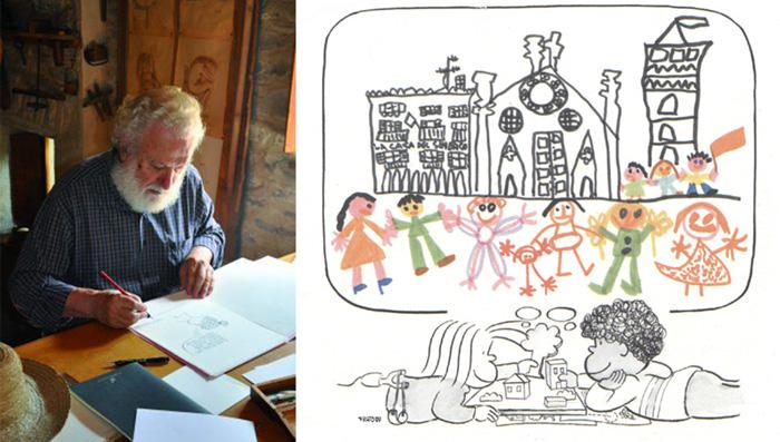 Francesco Tonucci y uno de sus dibujos