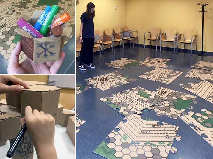 Preparativos de taller infantil navideño de construcción
