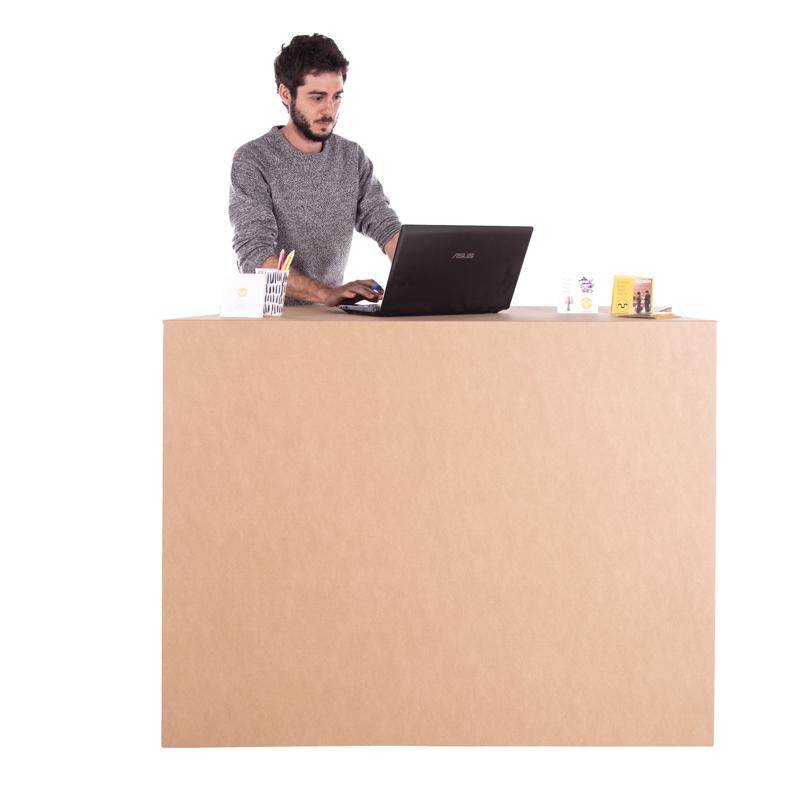 mostrador plegable tuck carton eventos