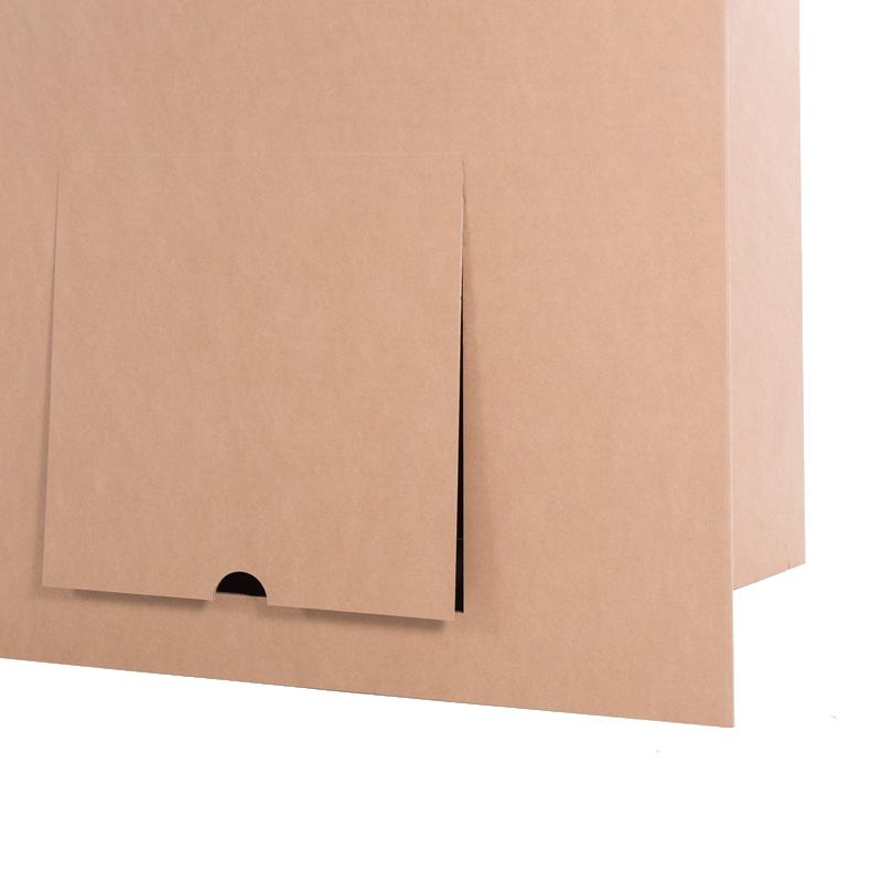 Mostrador plegable con totem compuerta carton
